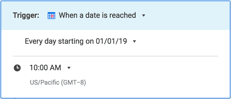 Screenshot of a daily reminder trigger as part of an automated workflow