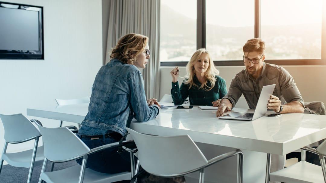 team working in meeting room
