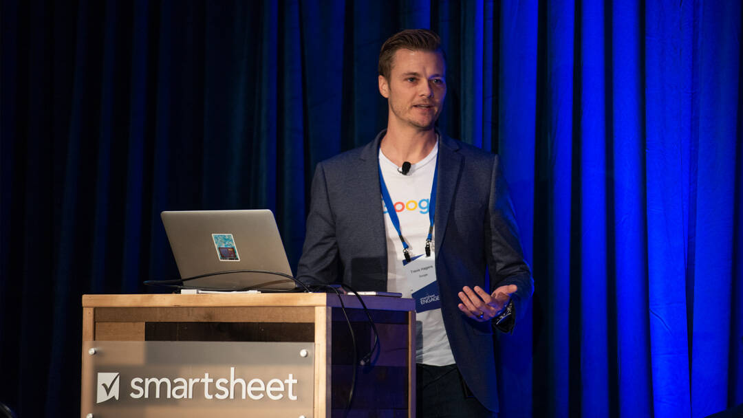 speaker presenting at Smartsheet ENGAGE