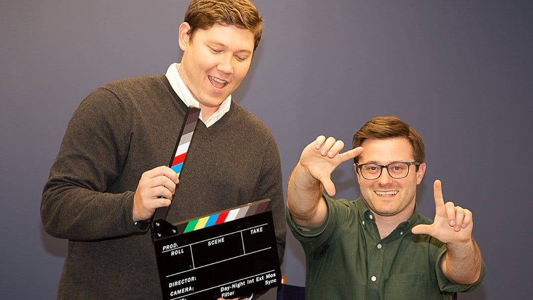 Slope founders Dan Bloom and Brian Bosché share their vision for creative workflows with a clapperboard and director's chair