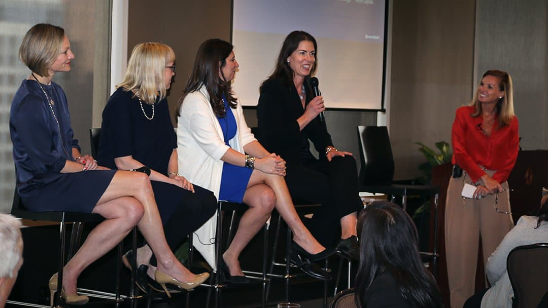 CEO Jill Angelo, CFO Jenny Ceran, NYSE President Stacey Cunningham, and Joanna Lohkamp speak as part of a women in leadership panel moderated by Smartsheet CMO Anna Griffin