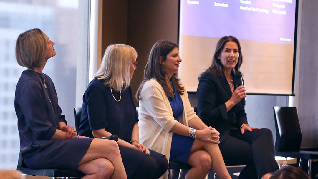 Co-founder and managing director Joanna Lohkamp speaks on a panel including CEO Jill Angelo, CFO Jenny Ceran, and NYSE President Stacey Cunningham
