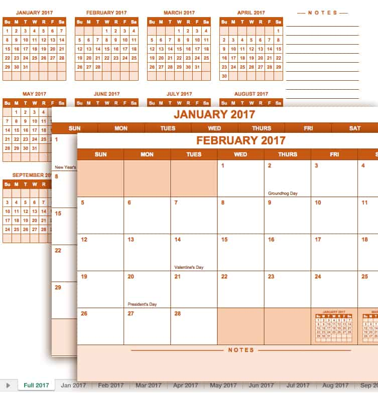 2017 Full Year Calendar Template