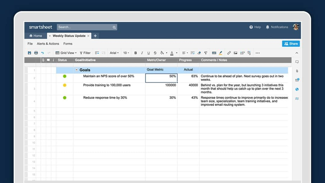 A graphic of the Smartsheet platform that shows a sheet for Weekly Status Updates
