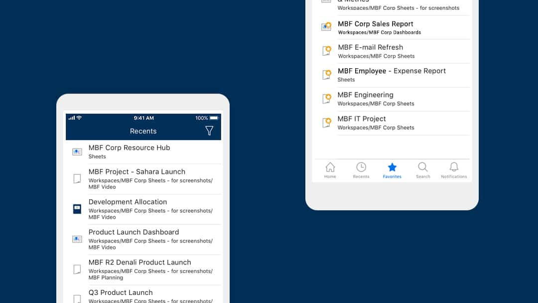 Favorites and Recents sections displayed on the Smartsheet mobile app