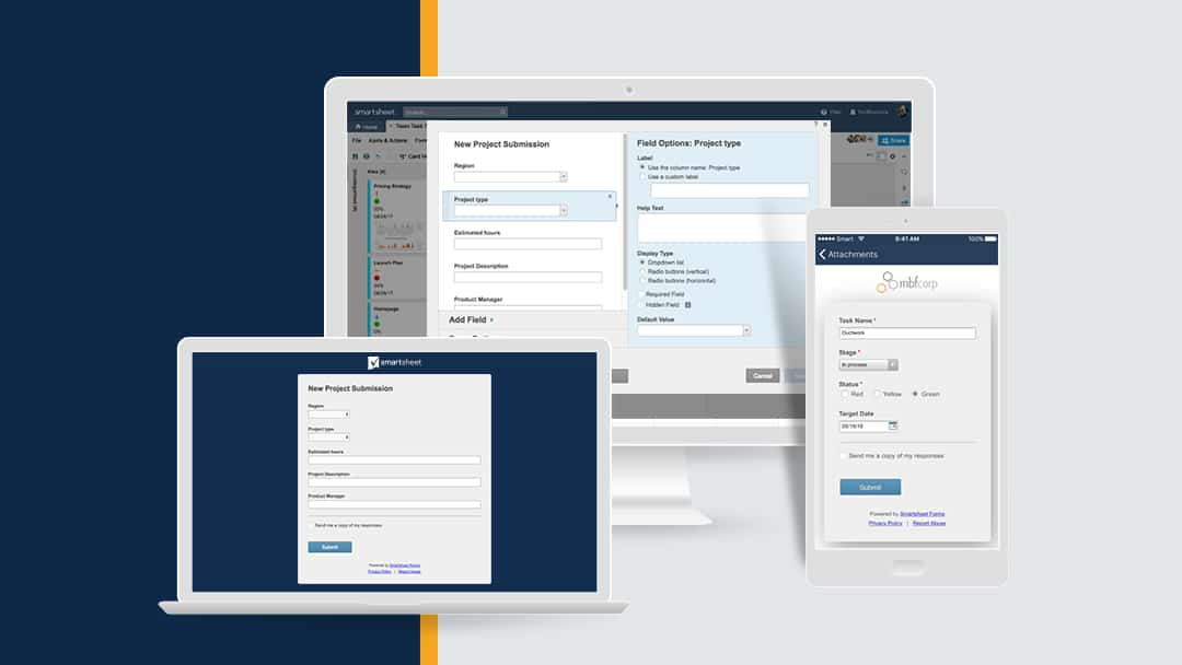 Smartsheet forms displayed on three devices: smartphone, laptop, and desktop.