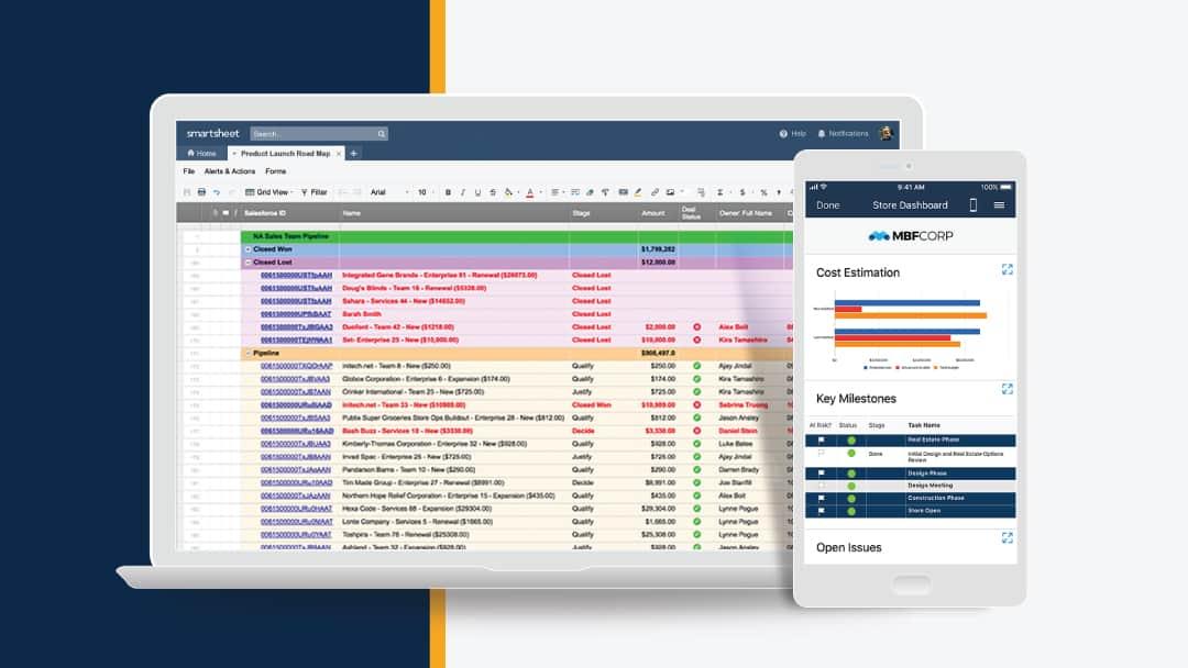 Image of the Smartsheet platform on laptop and smartphone