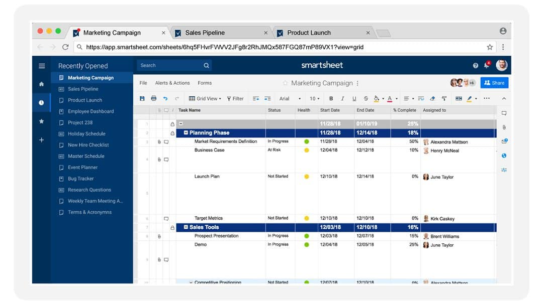 Smartsheet update user interface
