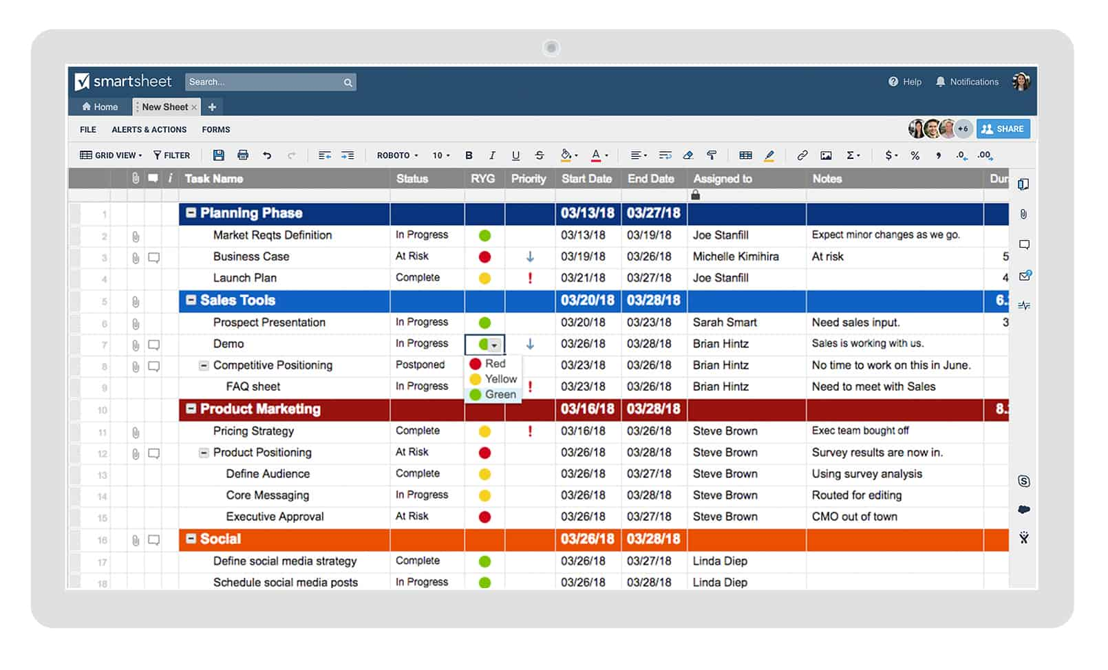 Smartsheet Grid View is used for product planning and implementation.