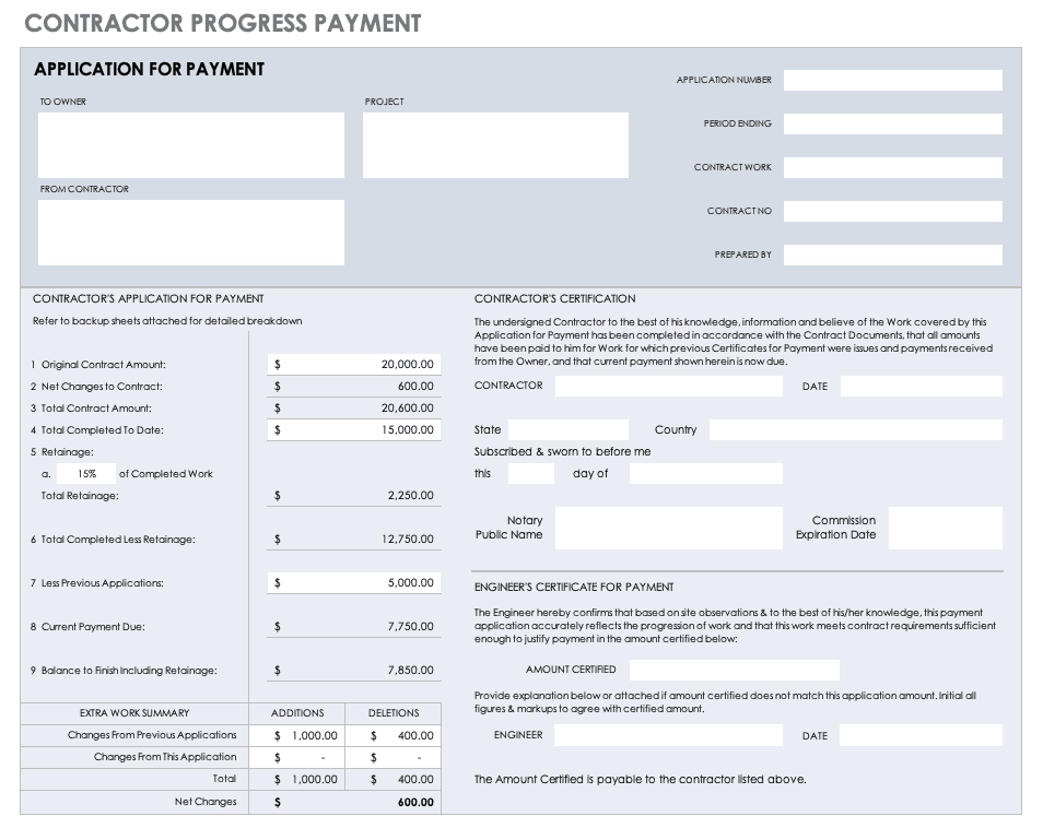 Contractor Progress Payment Template