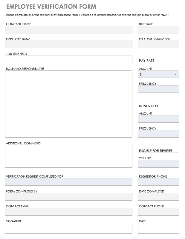 Free Employee Verification Templates Smartsheet