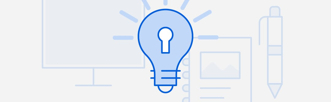 Simple graphic with light bulb icon
