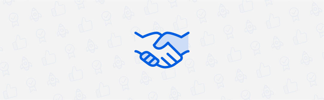 Icon graphic of a handshake