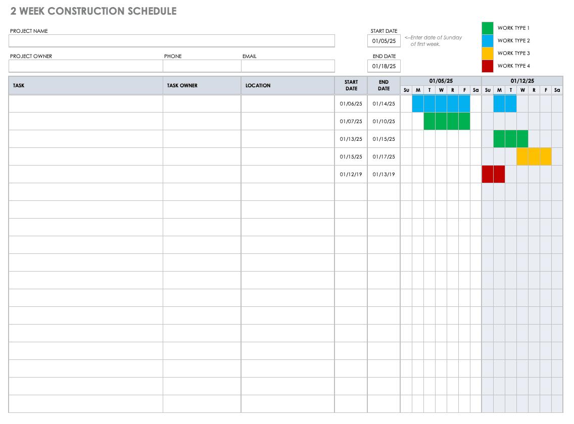 Free Construction Schedule Templates Smartsheet