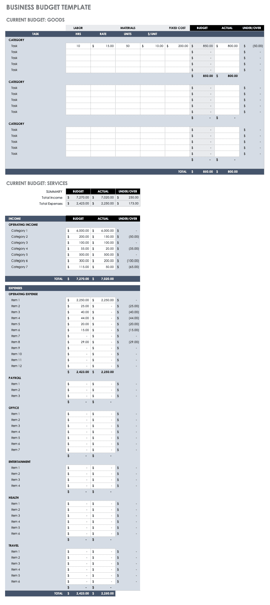 Business Budget Tracking Template