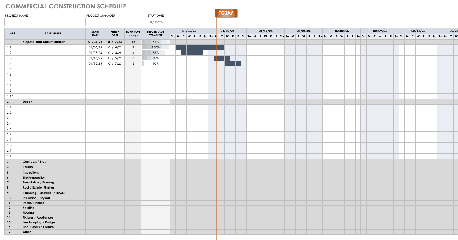 Free Construction Schedule Templates | Smartsheet