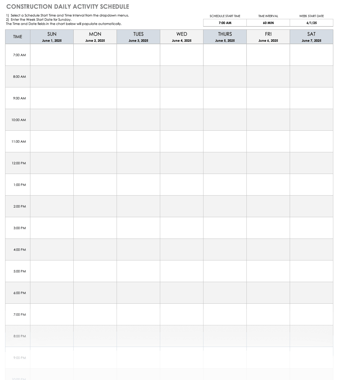 Construction Daily Activity Schedule Template