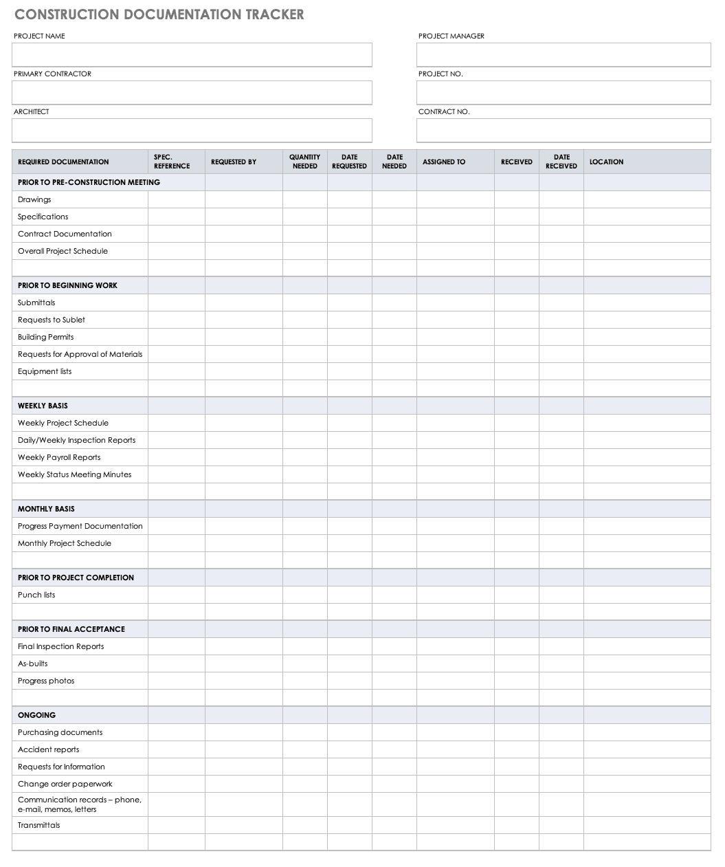 Construction Documentation Tracker Template