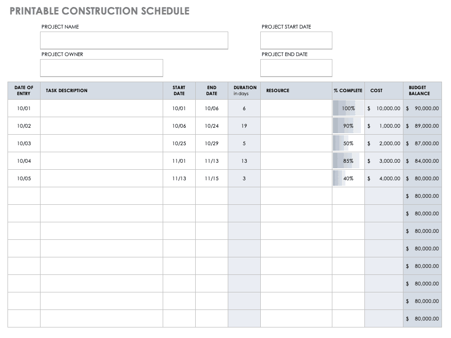 Printable Construction Schedule Template