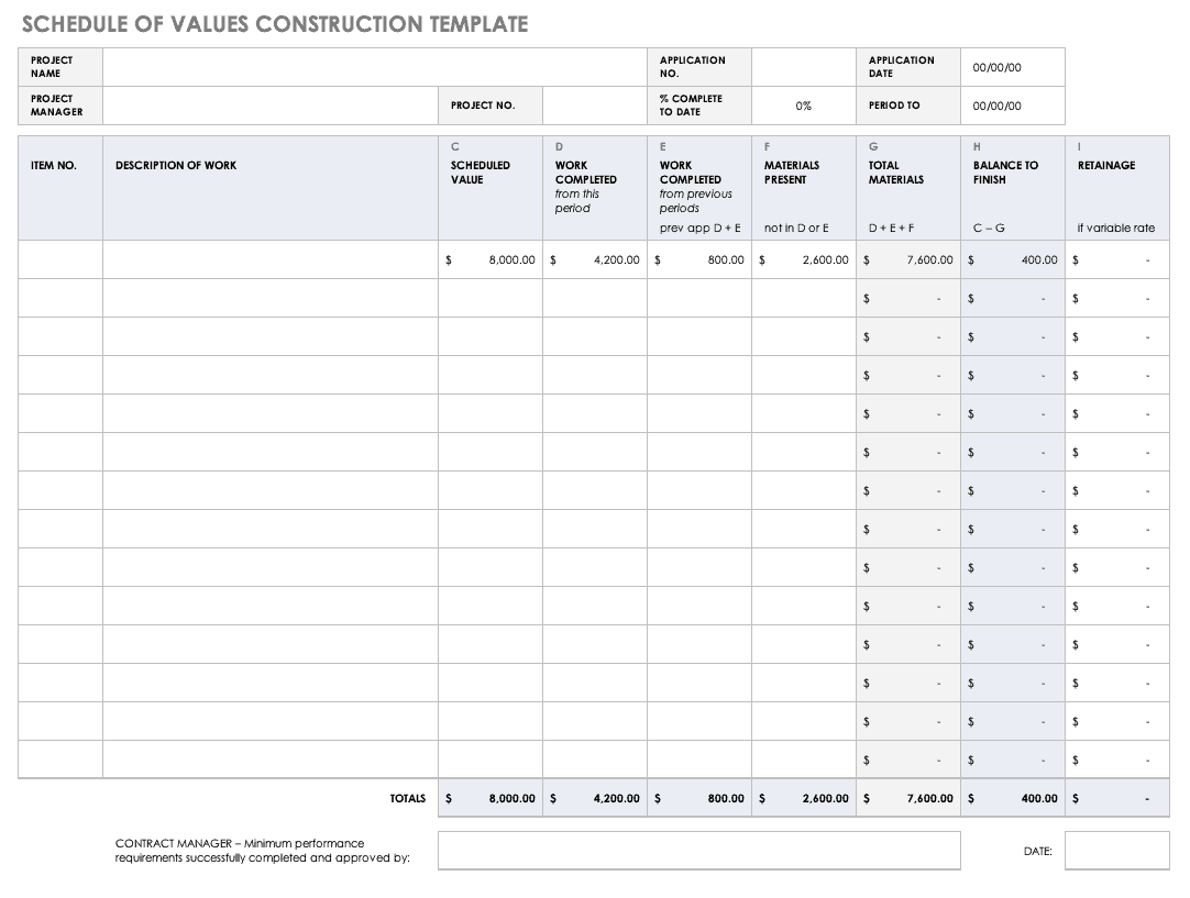 Schedule of Values SOV Construction Template