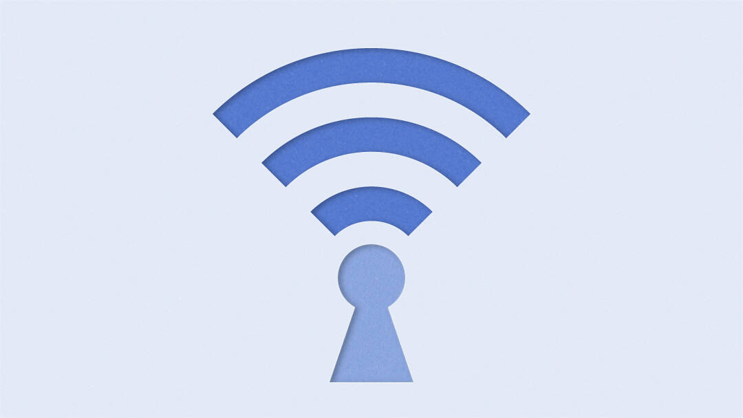 Illustration showing a a keyhole with a wifi signal above