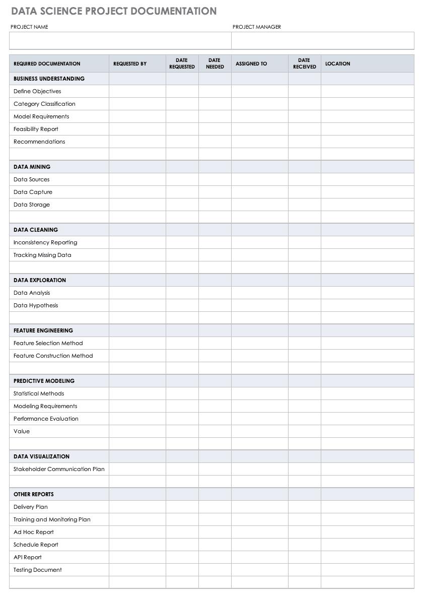 9+ Free Project Documentation Templates   Smartsheet