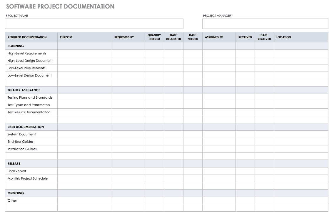 10 Free Project Documentation Templates Smartsheet