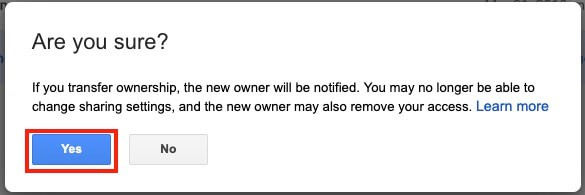 Google Drive Change Ownership Confirm