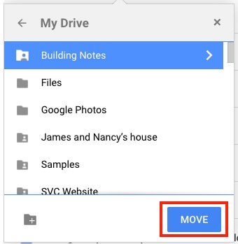 Google Drive Move Shared File to My Drive Organize Move