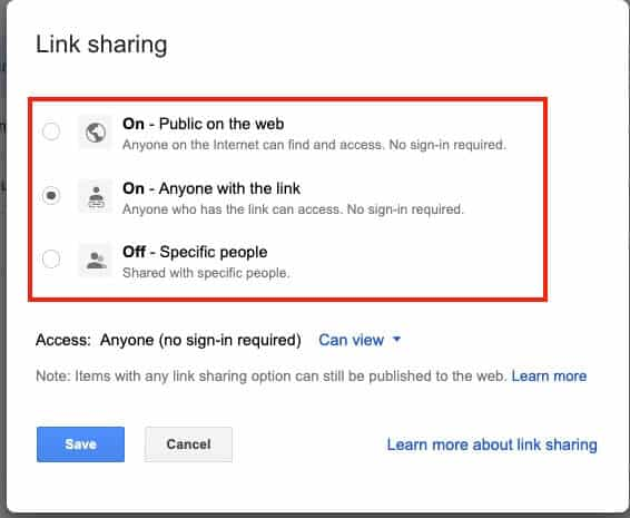 Google Drive Share Link Options