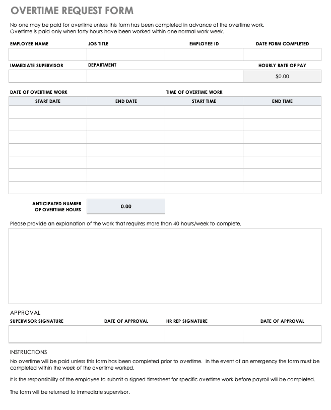 free overtime request forms