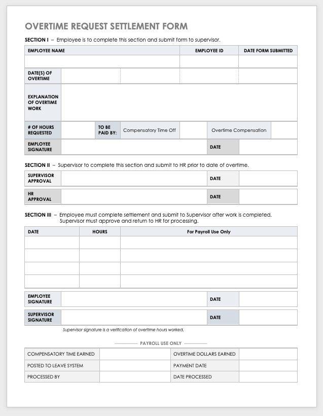 Free Overtime Request Forms Smartsheet