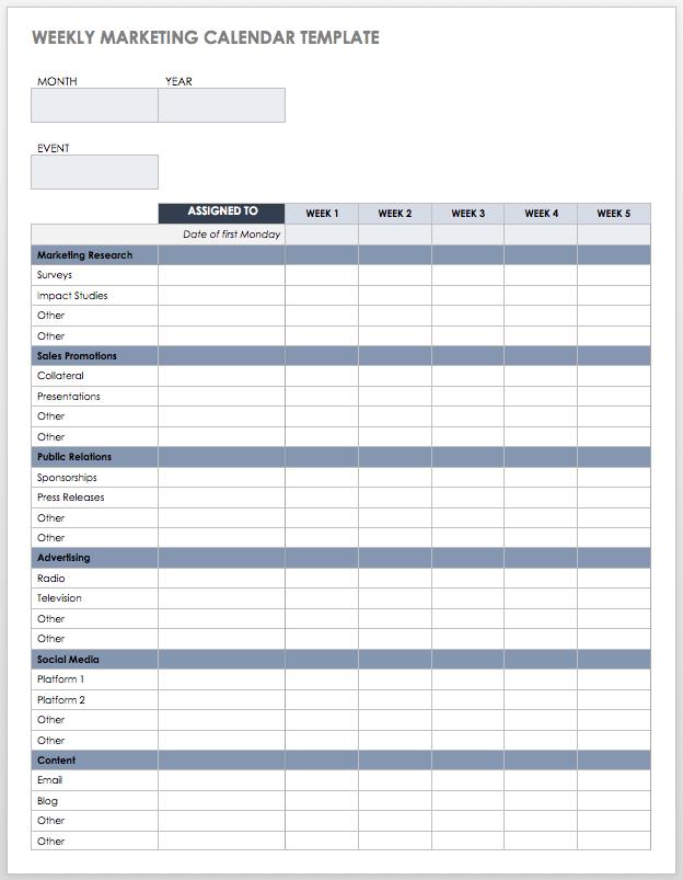 9 Kostenlose Marketingkalender Excel Vorlagen Smartsheet