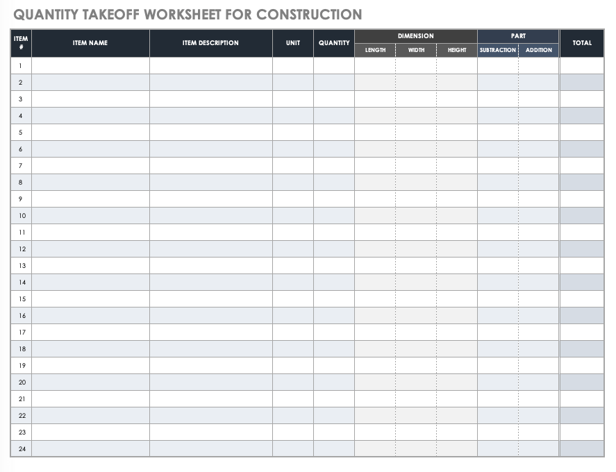 Quantity Takeoff Worksheet Template