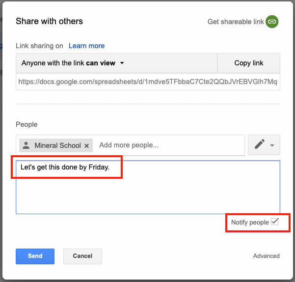 Google Drive Share Email Notification Options