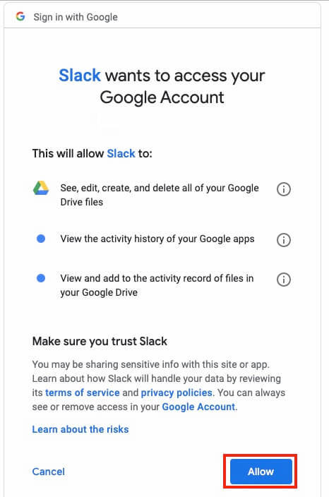 Google Drive Share Slack Add Authenticate Choose Accounts Permissions