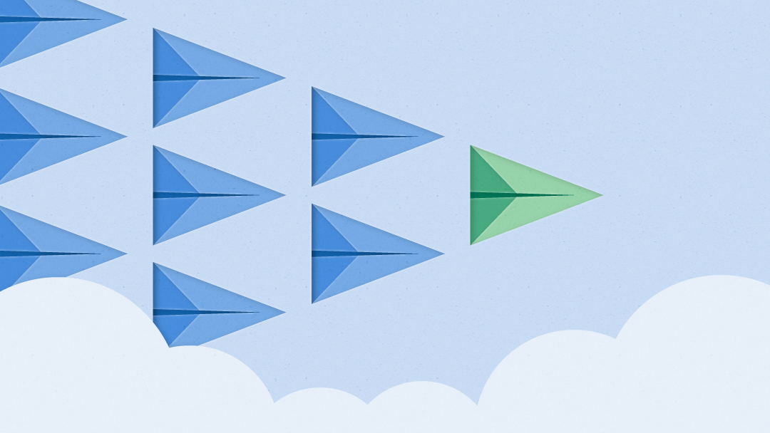 An image of blue paper airplanes with a single green airplane in front leading the pack