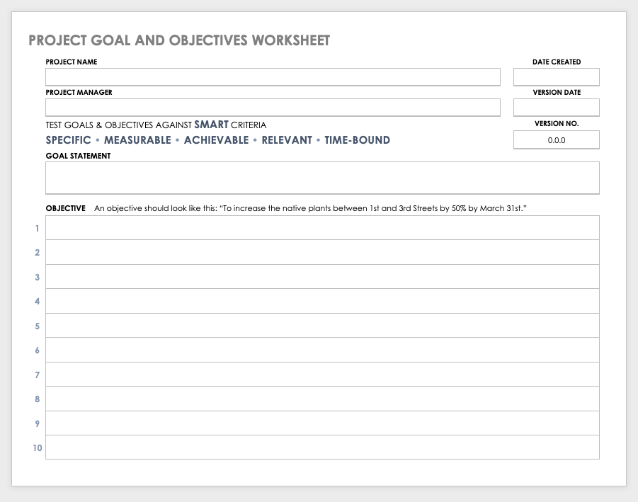 Project Goal and Objectives Worksheet