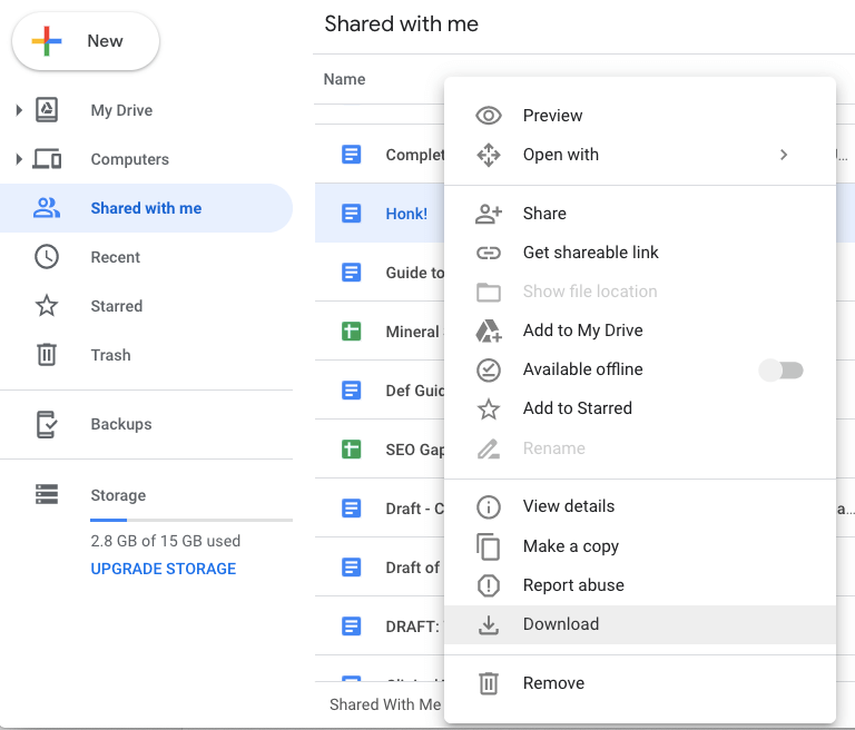 Google Drive Download Shared File