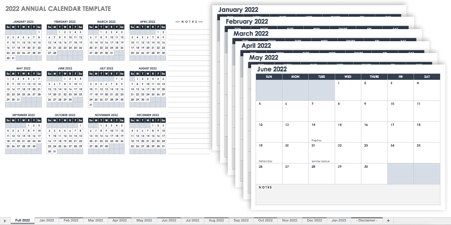 12 Month Calendar for 2022 Template