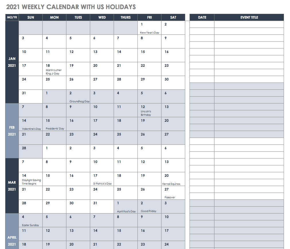 2021 Weekly Calendar with US Holidays Template