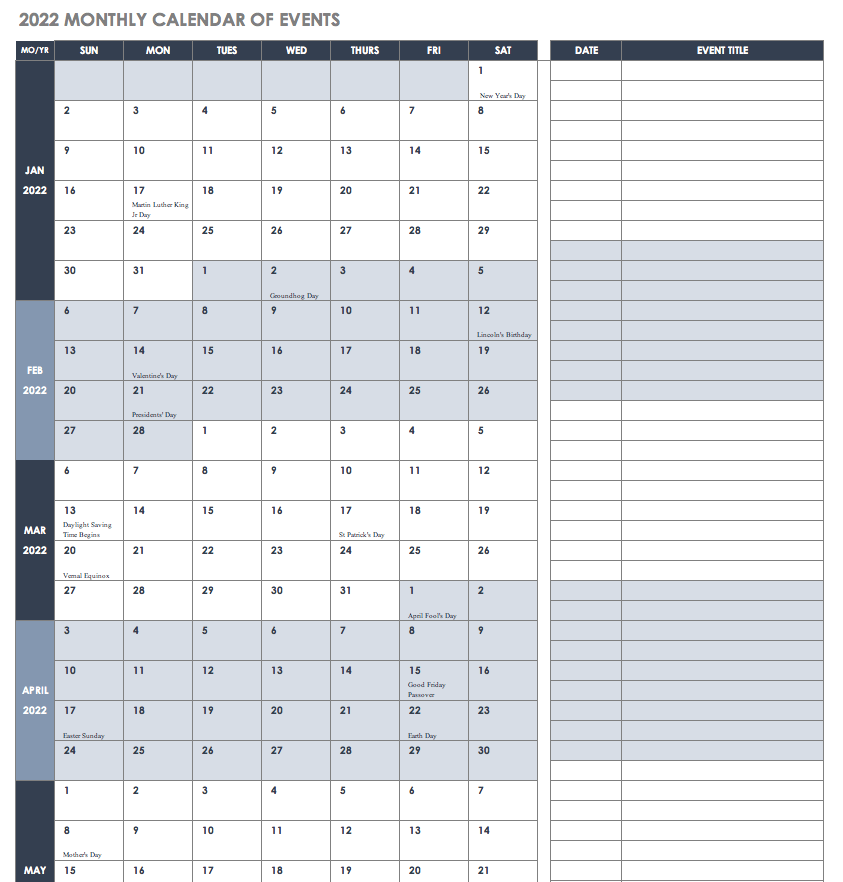 2022 Monthly Calendar of Events Template