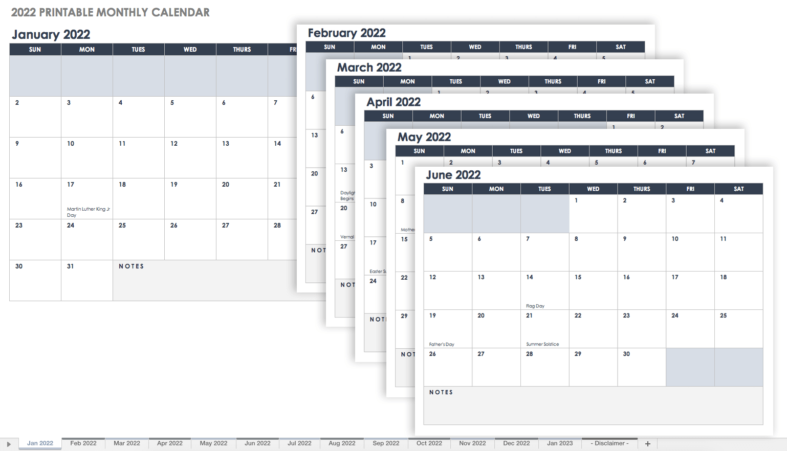 2022 Printable Monthly Calendar Landscape Template