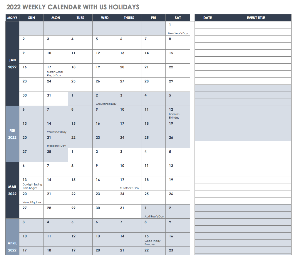 2022 Weekly Calendar with US Holidays Template