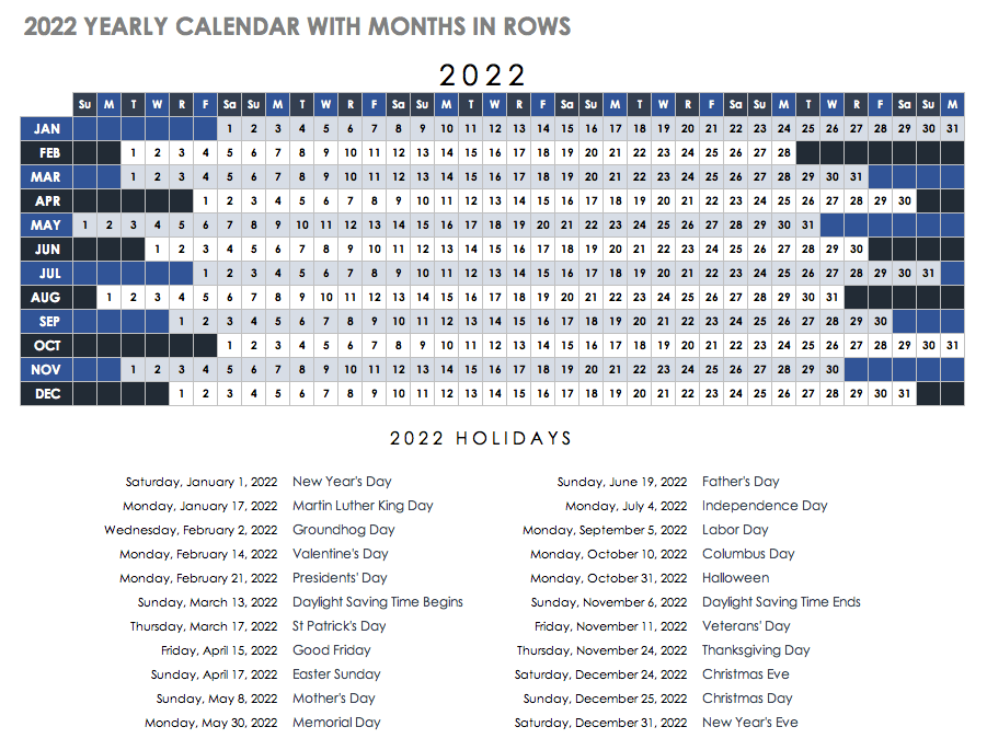 2022 Yearly Calendar Template with Months in Rows