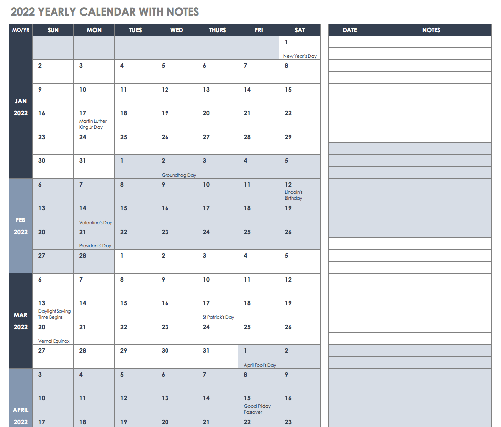 2022 Yearly Calendar with Notes Template