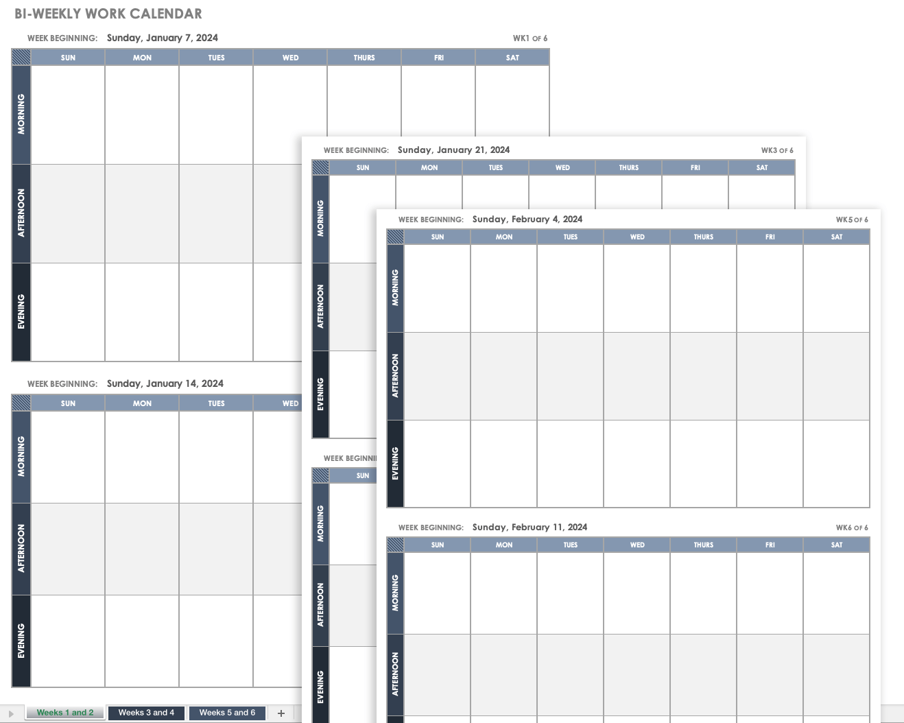 Bi-weekly Work Calendar Template
