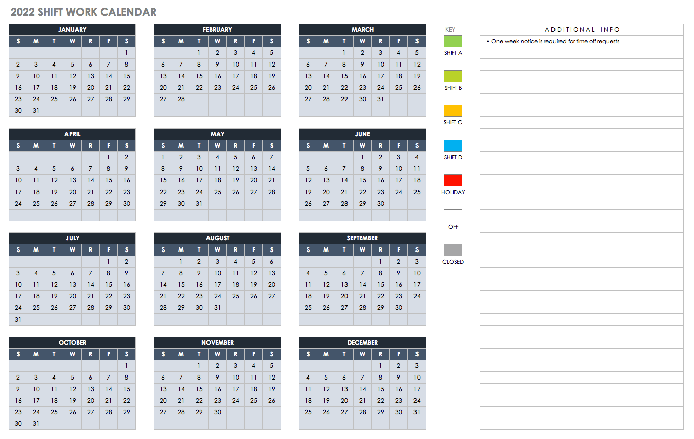 2022 Excel Calendar.15 Free Monthly Calendar Templates Smartsheet