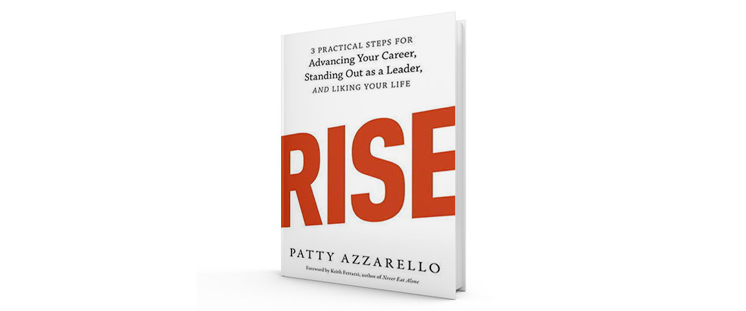 The white cover of the book Rise in red letters