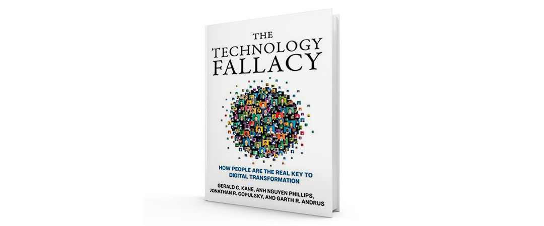 The white cover of the book The Technology Fallacy, with headshots of workers in a circular bubble on the front